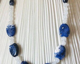 Sodalite Fish and bubbles necklace