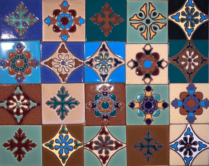 3x3 Tile MIX 20 Pieces of Gorgeous Mixed Patterns and Colors