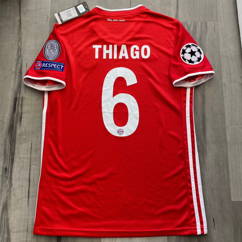 Thiago Bayern Munich Final Lisbon 2020/21 Red Home Jersey Champions League UCL FINAL PATCH (Medium)