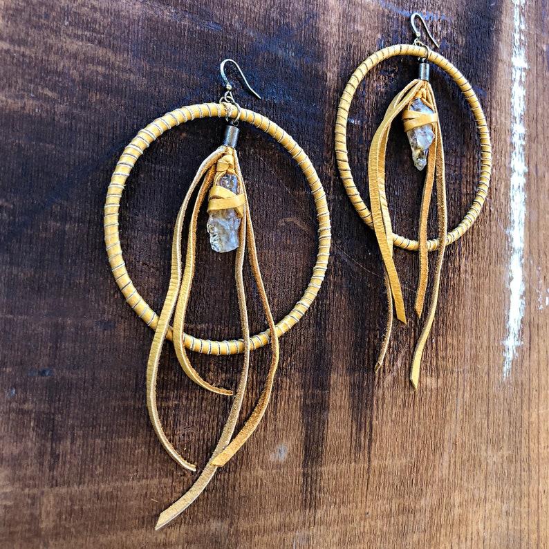 Citrine Hoop Hoop Earring Yellow Hoop Earring Yellow Hoop Round Hoop Earring Hoop Tribal Gold Leather Earring Hoop Earring with Stone