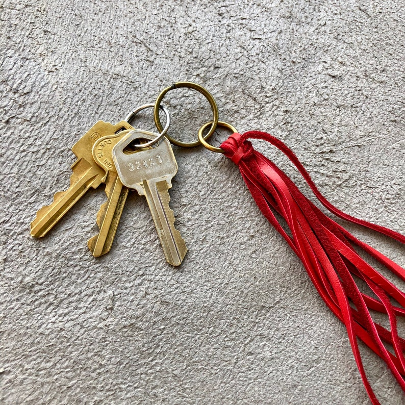 Red Leather Tassel Leather Tassel Key Chain Zipper Pull Bag Charm Tassel Accessory Tassel Leather Charm for Purse Gypset Boho Handbag
