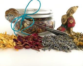 """Relaxing """"Slow Your Roll"""" Bath / Foot Soak, All Organic, Dried Lavender, Calendula, Rose Petals, & Chamomile - Pet / Child Friendly 8 oz"""