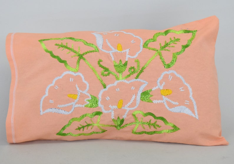 Hand Embroidered Alcatraz/'s with leaves on Pillow Cover Hand Embroidered pair of pillow covers Embroidered Lumbar Pillow Cover Arum lily