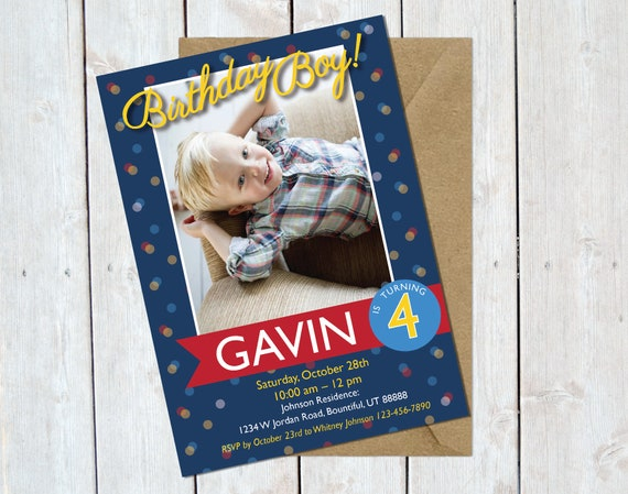 Boy Birthday Invitation Blue Printable Invite Custom