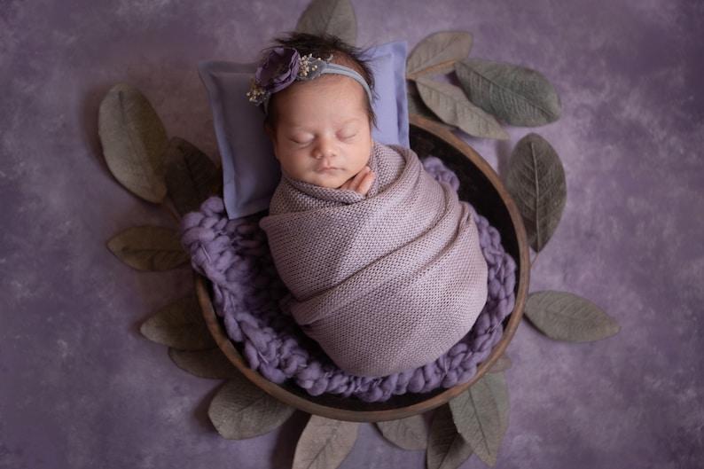 Newborn Rustic Floral Headband Purple Flower Baby Girl Tieback Violet Mauve Natural BabyShower Gift Fall Summer Spring Toddler Photo Prop 36