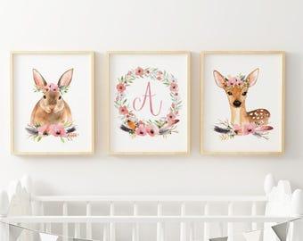 Boho Nursery Decor, Boho Nursery, Boho Baby, Woodland Boho Baby Shower Decor, Boho Woodland Nursery Art Wall Art Decor Art Set 3 Prints