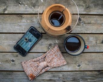 100 % cotton hand knitted HEADBAND, ear warmer, beige & brown colour, for women