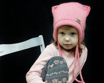 9bc85f3703e Cat ear pussy hat. Warm knit double hat for baby. Animal hat with ears.  Kitty hat for daughter or any girl.