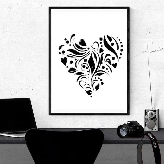 Heart Poster Heart Wall Art Black And White Heart Wall Art Gift For Heart Art Lovers Heart Drawing Art Heart Painting Hearts