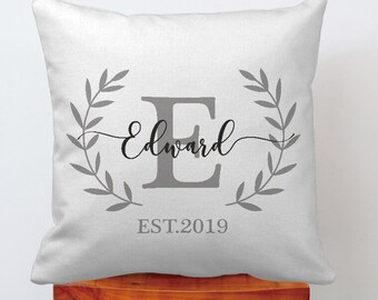 Custom Monogram Pillow Cover Personalized Pillow Initial Etsy
