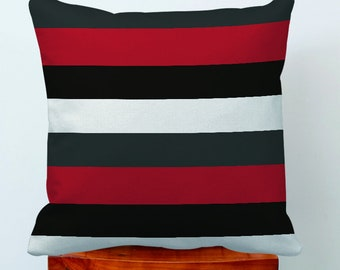 Geometric Stripe Pillow Covers,Dark Gray Red-Black-Decorative Zippered Pillow,Couch Cushion Covers Case For Sofa,Art Pillow Sham,Pillowcase
