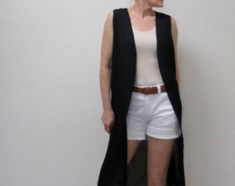 New Black Georgette Sleeveless Kimono 3/4 Maxi