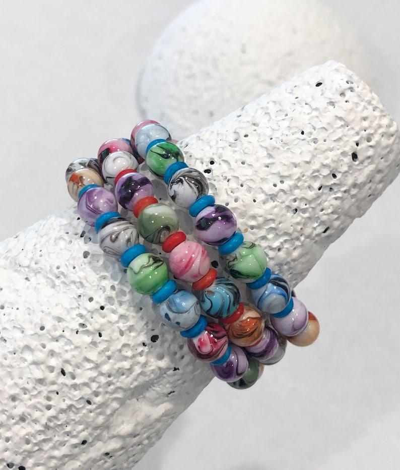 Tie Dye Stretch Bracelet Set 6 34\u201d Long Bracelets