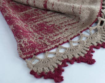 Handwoven Shawl / Wool and Silk / Handwoven Stole / Handwoven Wrap / Burgundy / Bronze / Hand Crocheted Lace / New Folk