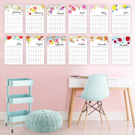 printed wall calendar 11x17 calendar watercolor calendar etsy