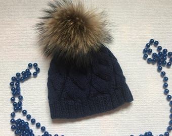 687d60356b9 Dark blue knit hat with pom pom Women s knitted beanie Merino wool hats for  women Ideal winter warm hat