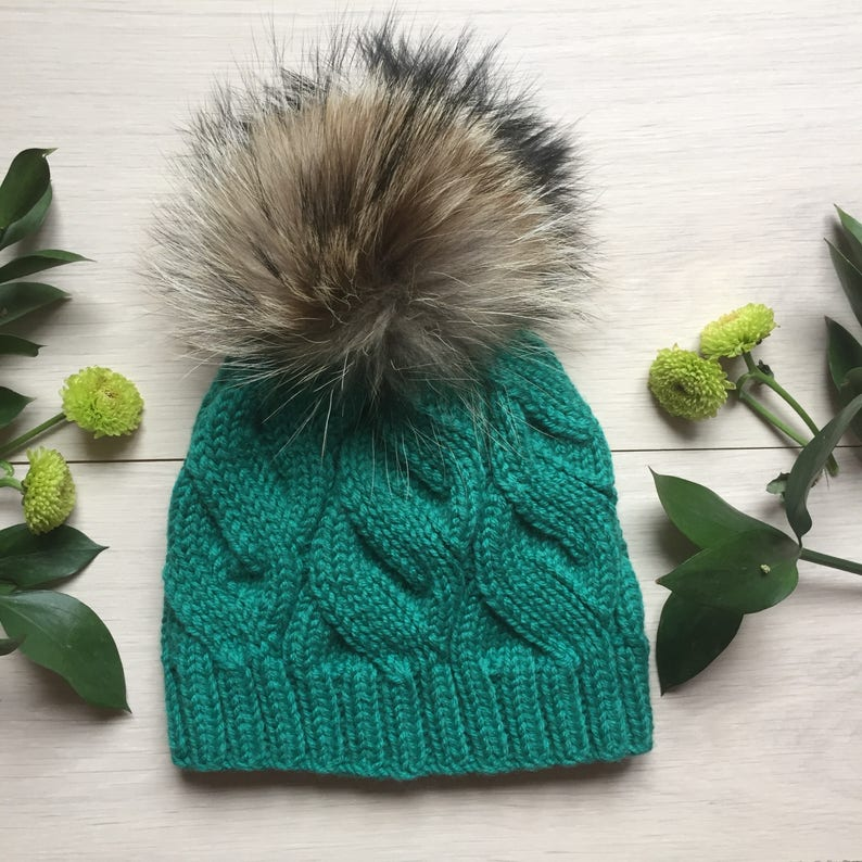 351d488a2e7fe Light green cashmere beanie Giant pom pom knitted hat Real fur