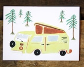 Postcard-camper, greeting card, colorful, bus