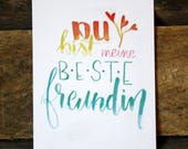 Postcard-best friend-card, greeting cards, colorful