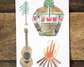 Camping-4 motifs-, map, greeting card, fir, campfire, Norwegian sweater, guitar, colorful