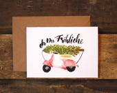 Christmas folding card-fir tree, scooter