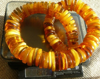 Excellent Genuine Amber Stone Baltic Sea Big Beads 80.2 GR Butterscotch ,Honey,creamy, yellow Color