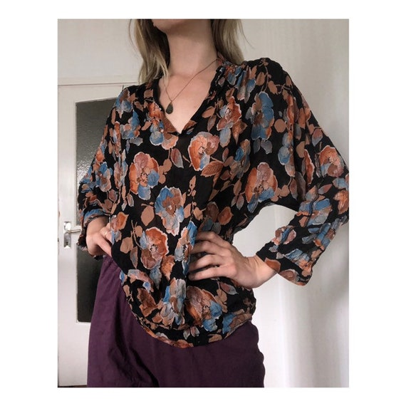 Fall floral sheer blouse
