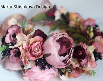 Floral crown Wedding Spring flower crown Boho flower crown Bridal flower crown Festival crown Wedding Crown Pink crown flower Wedding