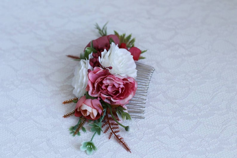 White burgundy red flower peonies comb the bridal bridesmaid flower crown Hair pieces  peach greenery