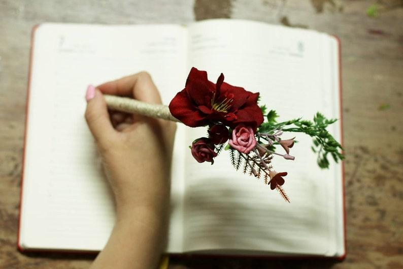Wedding pen flower burgundy greenery ceremony book guest  rustic