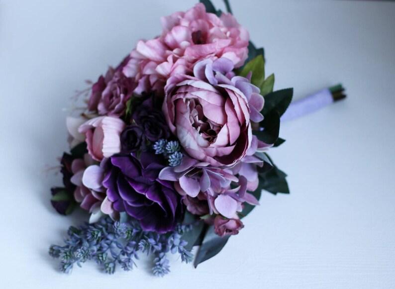 Succulent bouquet bridesmaid bouquet lavender bouquet cascade bouquet purple bouquet hydrangea bouquet boho wedding bouquet mauve bouquet