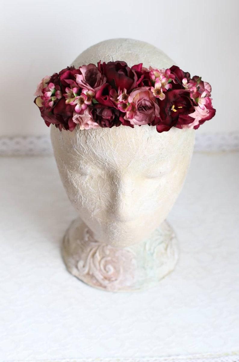 d184a266833f Fuchsia Red Burgundy Flower Crown Wedding Pink