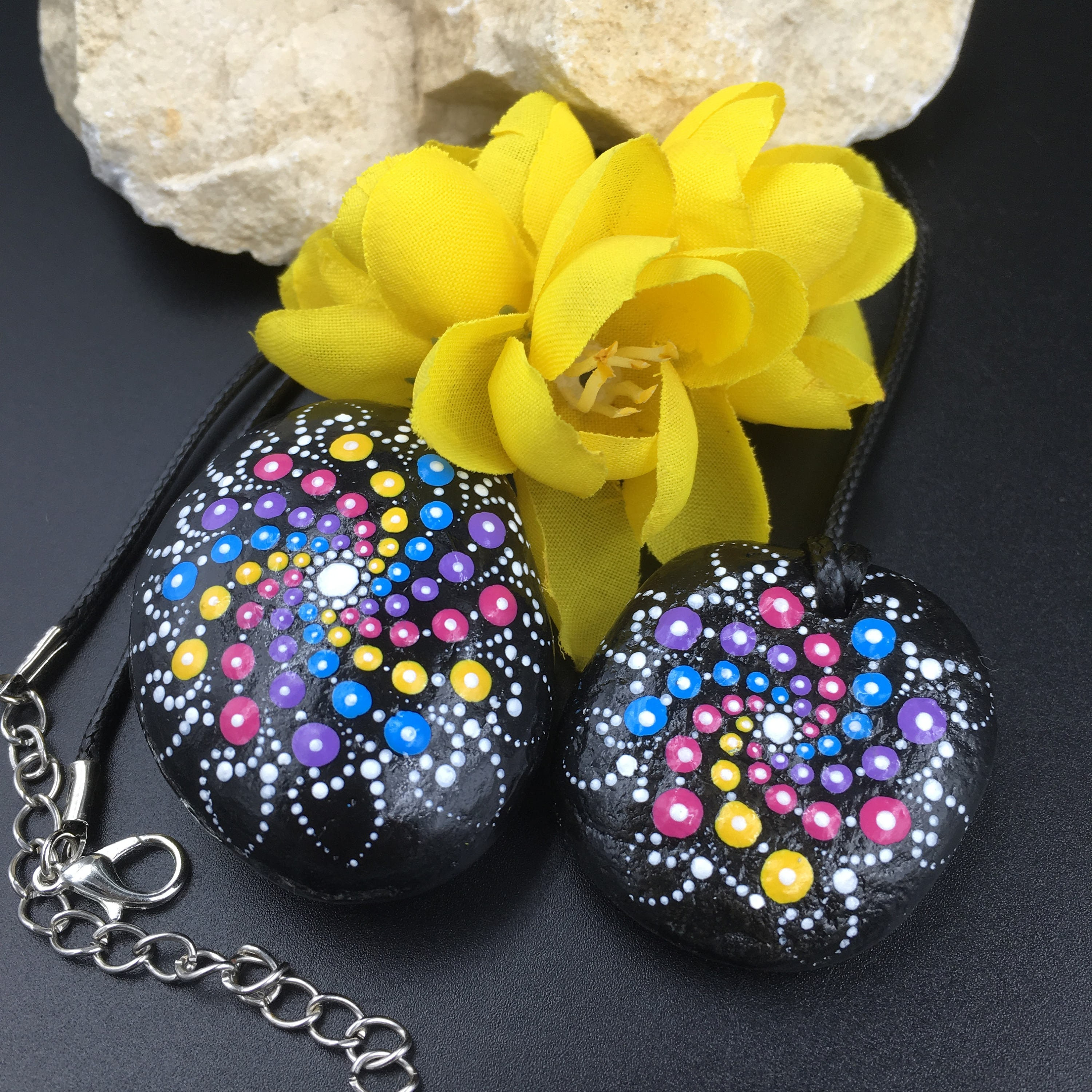 Bohemian Jewellery Tribal Pendant Holiday Gift Idea Unique Set of 2 Dot Painted Rocks and 1 Pendant