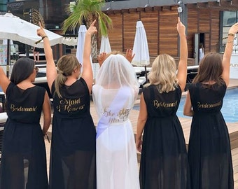c19190d2f045f Personalised LONG Bridal Party Hen Abroad Kaftan Beach Swimsuit Cover Up  Robe Hen Abroad Bridesmaid Swimsuit