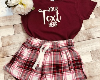 4deaae359f Adults Children s Create your own Slogan   Text SHORT Pyjamas PJ S PJ Set  Navy or Pink Personalised Gift Birthday Anniversary Xmas Pyjamas