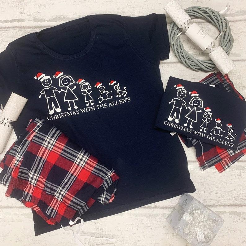 Personalised STICKMAN Family Pyjamas Christmas Baby Child Adult Matching PJs Kids Christmas Tartan PJS PAJAMAS Pyjamas Christmas Eve Box