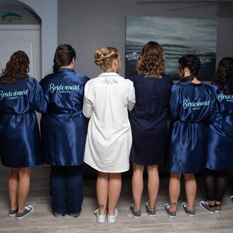Set of Bridal Personalised Party Robes Gown Gowns 15 Colours Adults /& Kids  Bridesmaid Maid of Honour Mother of Bride