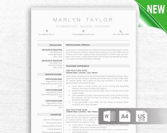 Teacher Resume Template for Word, 2 Page Educator Resume Teacher CV, Elementary Resume, Instant Download Teaching Resume Cover Letter Icons
