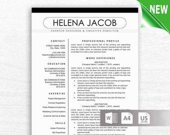 Modern Resume Template, CV Template + Cover Letter, Reference Letter for Word, Resume, Resume Template, Instant Digital Download, Mac or Pc