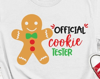 Official Cookie Tester Svg, Kids Christmas Svg, Christmas Cookies, Boy Christmas Svg,Holiday Baking Team Svg Files for Cricut,Png,Dxf,tx144c