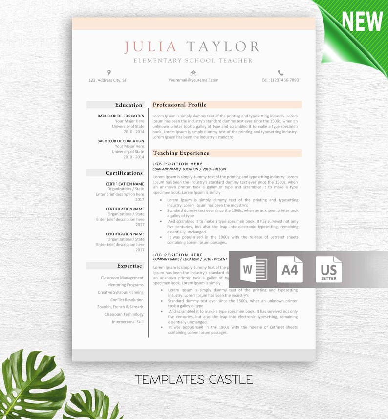 Resume Template Modern CV Professional Creative Cover Letter | Etsy