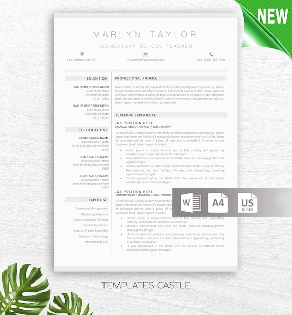 Teacher Resume Template For Word 2 Page Educator Resume Etsy