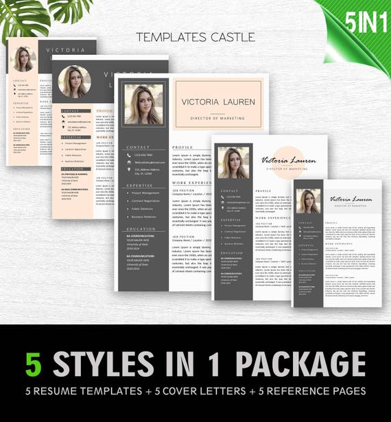 Resume Template Professional Modern Cv Creative Photo Free Cover Letter Word Ms Editable Nurse Resume Bundle Instant Download Teacher Txc6