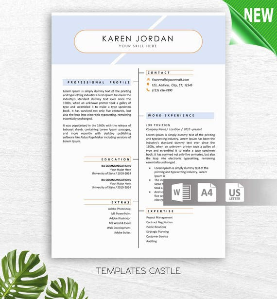 Professional Resume Template Cv Templates Word Creative Modern Etsy
