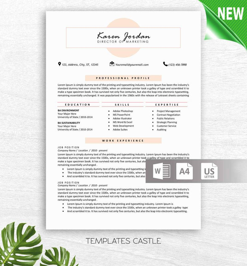 Resume Template CV Professional Modern Creative MS Word Free