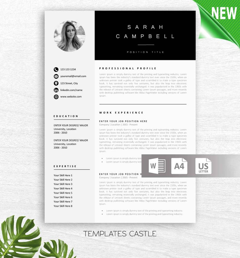 Resume Template Creative Professional Modern Word Cover Letter | Etsy