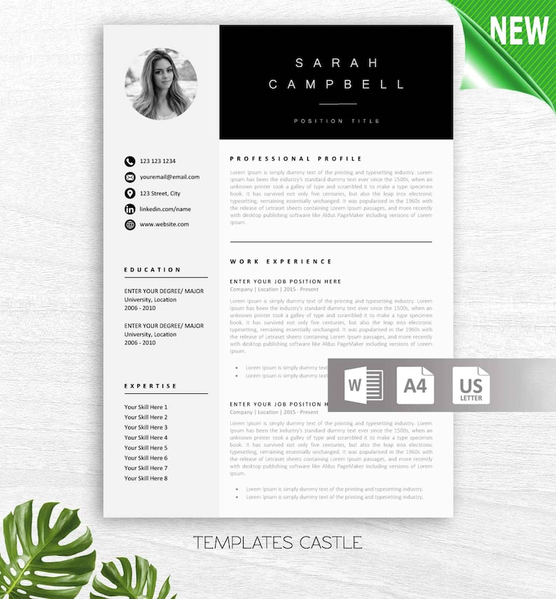 Resume Template Creative Professional Modern Word Cover Letter Reference  Page US Letter A4 Modern CV Templates Pages Instant Download txc3