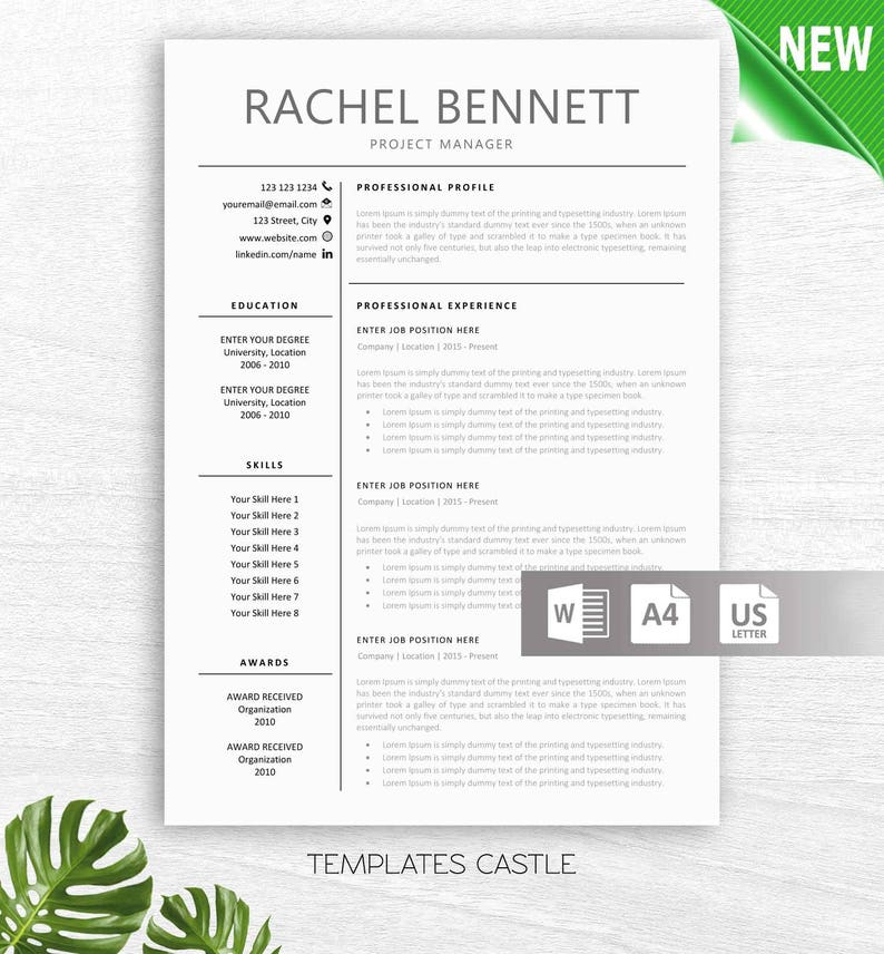 Resume Template Modern professional CV Teacher Resumes Elementary Teaching  Resume Administration Templates Instant Download Word txc13
