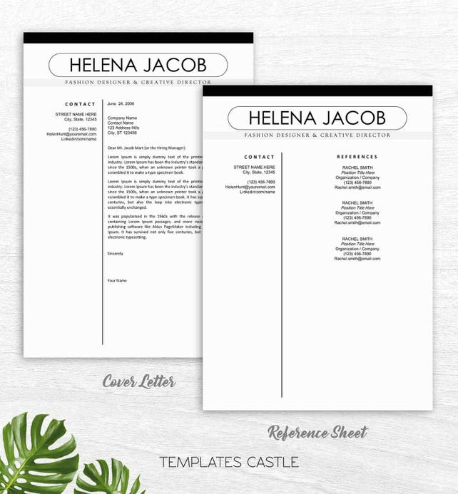 modern resume template cv template cover letter reference letter for word resume resume template instant digital download mac or pc
