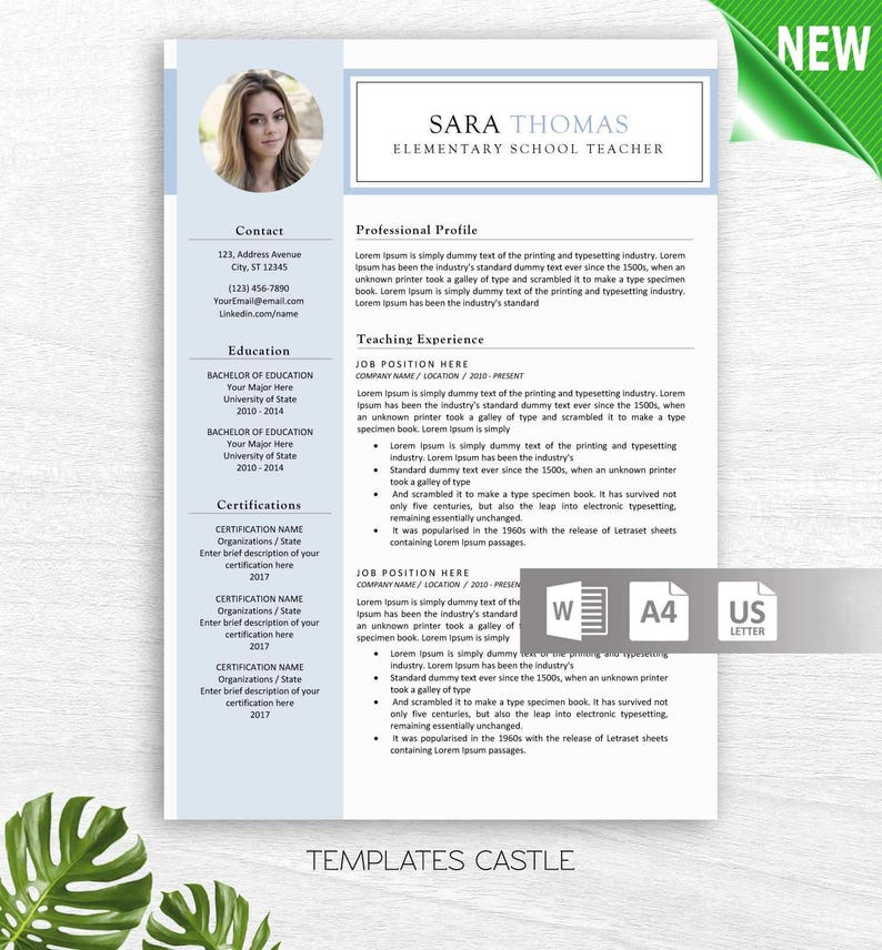 Modern Resume Template CV Templates Professional Creative Resume MS Word  Resume Simple Instant Download free teacher nurse doctor cv Design
